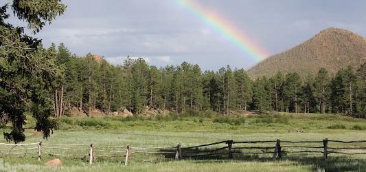 Kai Staats: Rainbow over Buffalo Peak Ranch
