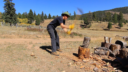 Kai Staats: chopping wood at Buffalo Peak Ranch