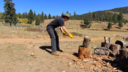Kai Staats: chopping wood at Buffalo Peak Ranch